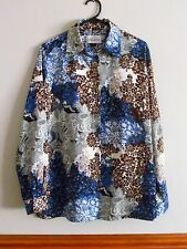 WOMEN'S/LADIES TOP - TORONTO BLUE BROWN CREAM FLORAL BUTTON SHIRT SIZE 14