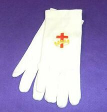 EMBROIDERED RED CROSS & CROWN (R.B.P.) WHITE GLOVES