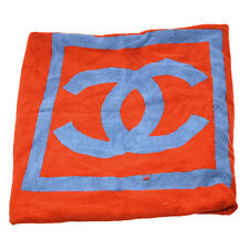Authentic CHANEL CC Logos Beach Towels Blue Red Cotton France Vintage V12310