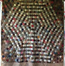 Stunning ANTIQUE Vintage Quilt FLOWER GARDEN Hexagons