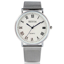 NEW Kevin Simple Stainless Steel Mesh Band Roman Numerals Quartz Wrist Watch Men