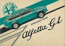 1974 ALFA ROMEO ALFETTA GT BETRIEBSANLEITUNG HANDBUCH OWNER'S MANUAL ENGLISCH