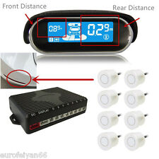 8 White Sensor Car Reversing Parking Radar Alert Buzzer System Dual-Core Display