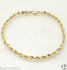 "8"" Solid Diamond Cut Rope Bracelet Real 10K Yellow Gold Great Gift Idea 9.6gr"