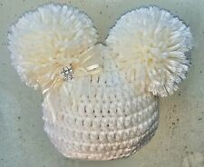 CROCHET POM POM HAT 6-9-12 6-12 MONTHS BABY GIRL pompom 2 knit photo prop cream