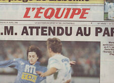 journal  l'equipe 21/04/90 FOOT AVANT MARSEILLE  PARIS SG RUGBY BEZIERS NARBONNE