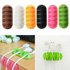 5-Clip TPR Earphone Cable Winder Organizer Charger Cable Holder Fixing Device