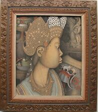 "I. KETUT KASTA INDONESIAN ACRYLIC ON CANVAS ""BALINESE BEAUTY WITH FRUIT"" C 1995"
