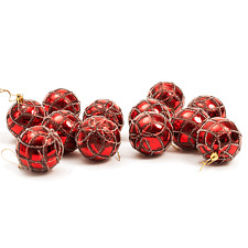 ALBERO di Natale da appendere pallina decorazioni (60mm) 12 x Design glitter (rosso)