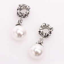 10x Tibetan Antique Silver Pearl Flower Carved Dangle Bead Fit European Charms D