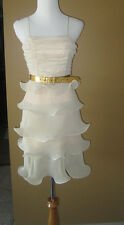 NWD $498 MEGHAN FABULOUS BEIGE STRUCTURED TIERED PARTY DRESS S 4