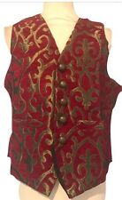 Steampunk Raven Gothic Regal Red Woven Waist Coat Size XL