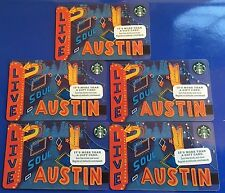 STARBUCKS ~Lot of 5~ Austin Live Music Capitol Gift cards no value mint NEW