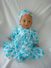 "Pastel Blue Dress, Bonnet & Booties. Baby Born Baby Annabell 16"" / 18"" Doll"