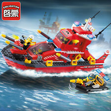 ENLIGHTEN Fire Rescue Series Fire Boat Building Blocks Minifigures Gift Toys