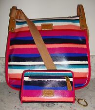 NWT FOSSIL KEYPER MULTI-COLORED RAINBOW STRIPED CROSSBODY PURSE BAG w/ WALLET