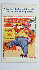 1950s Inter-Art Comic Postcard Roller Skates Blades Skating Rink Fat Man Rinking
