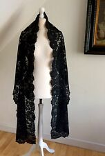 Antique Black Silk Lace Mantilla 260cm Victorian Mourning Veil French Needle Run