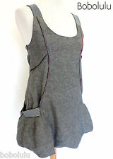 PUSSYCAT Grey Cotton Sleeveless DRESS Boho PRAIRIE Peasant PUFFBALL Lagenlook 10