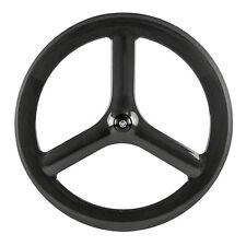 700CTri Spokes Carbon Wheels 65mm Depth Clincher Road Bike Tri Spoke Front Wheel