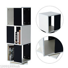 HOMCOM 3 Level Wood Rotating Storage Bookcase Swivel Bookshelf Home Office