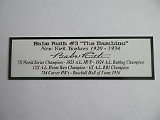 Babe Ruth Autograph Nameplate New York Yankees Photo Bat Hat Jersey
