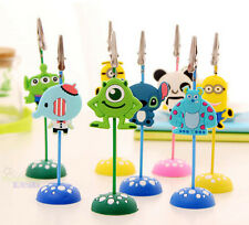 Cute 8psc Cartoon Note Card Photo / Memo Clip Holders Home Table Decoration
