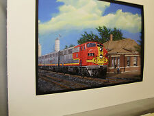 Santa Fe Diesel at Lamar  Colorado        Artist Railroad Archives ee