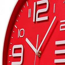 Sleek Ultra Modern Red Wall Clock With 3D Numbers 12 Inch Quartz Silent