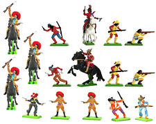 Britains Deetail 16 Mexicans and Apaches in 8 Foot and 3 Mounted Poses