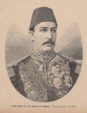 Muhammad Tawfiq Pascha Präsident Ägypten Khediven HOLZSTICH von 1879