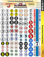 MG3400- 1/24 High Def Racing Decals Number Roundels