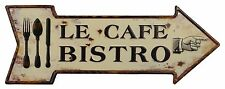 Blechschild  als Pfeil - Le Cafe - Bistro -  20 cm x 50 cm- Nostalgieschild
