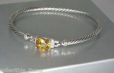 DAVID YURMAN PETITE WHEATON CITRINE DIAMOND STERLING SILVER BRACELET