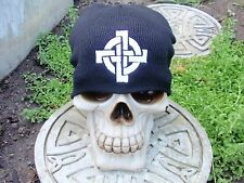 celtic cross white on black embroiderd beanie hat thors hammer asatru norse