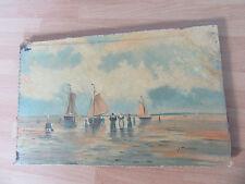 PEINTURE HUILE SUR bois 1900 signée J. THOMAS BATEAU MARINE VOILIERS PECHE