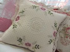 """Hand Crochet Lace Ribbon Floral Embroidery Throw Pillow Case~16""""~Cottage Chic~"""