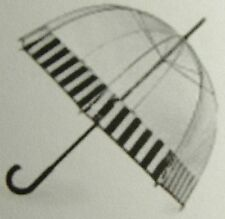 TOTES - CLEAR BUBBLE DOME WITH BLACK & WHITE BORDER MANUAL STICK UMBRELLA-NWT