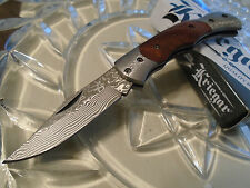 "Kriegar Rose Wood Genuine Damascus Lockback Gents Fancy Pocket Knife 5 1/2"" Open"