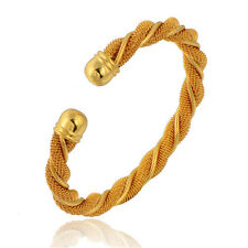 Womens Vintage Jewelry Twisted Mesh Cuff Bangle Bracelet 14K Yellow Gold Plated