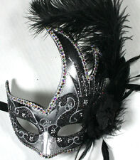 Feather Venetian Masquerade Costume Ball Prom Party Wedding Silver Black Mask