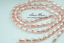 *80pcs/strand 6x10mm Pink Faux Acrylic Imitation Tear Drop Loose Pearl Beads*