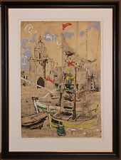 Listed French Artist Paul Aizpiri Original Gouache / Watercolor Signed