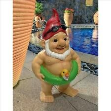 Pool Party Pete Naked Gnome Statue Design Toscano Outdoor Garden Gnome  Gnome