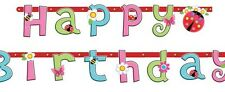 Amscan Pink Girls HAPPY BIRTHDAY Letter Banner Jointed Garland Customise 2.3m