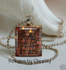 Library Book Necklace Scrabble Charm LIBRARIAN Gift Book Lover Pendant & Chain