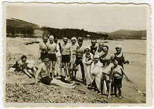 PHOTO ANCIENNE-MER VACANCES PLAGE-GROUP HOLIDAYS BEACH SWIMMING-Vintage Snapshot