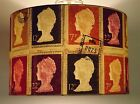 Large Postage Stamp Lampshade / Ceiling Light / Pendant Red NEW !!!