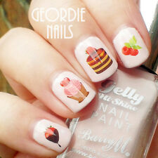 1 Sheet fraise gâteau Nail Art Water Decals Transfers Sticker Ongle Décoration