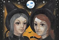 4x6 PRINT OF HALLOWEEN PAINTING RYTA WITCH FOLK ART PORTRAIT WICCA MAGIC SISTERS